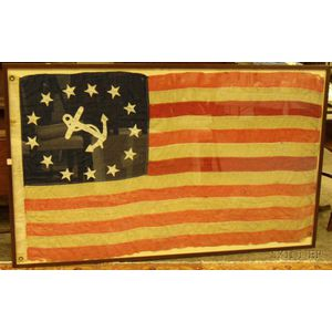 U.S. Yacht Ensign Machine-stitched Pieced and Appliqued Linen Flag
