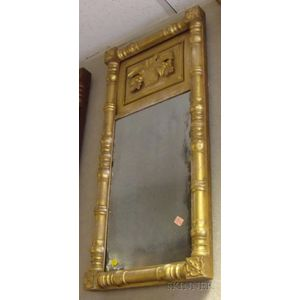 Classical Giltwood Split-baluster Mirror with Basket of Fruit Frieze