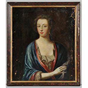 British School, 18th Century    Portrait of a Lady in a Blue Wrap