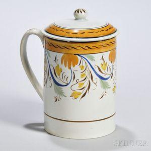 Large Polychrome-decorated Mug with Original Lid