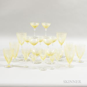 Set of Approximately Seventy Pieces of Fostoria Etched Glass Stemware.     Estimate $150-250