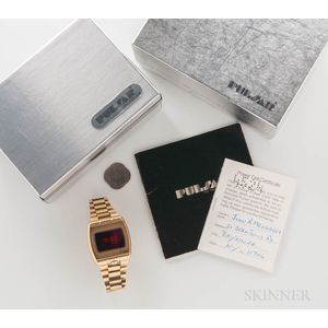 """Pulsar 18kt Gold """"Time Computer"""" Wristwatch with Box and Papers"""