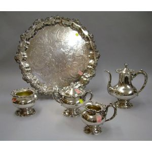 Four-piece Frank Whiting Sterling Silver Tea Set with a Silver Plated Footed Tray.