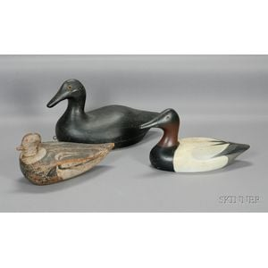 Three Carved and Painted Wooden Decoys