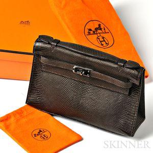"Brown Lizard ""Kelly Pochette"" Handbag, Hermes"
