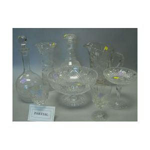 Fourteen Pieces of Colorless Cut and Pressed Glass Tableware
