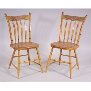 Pair of Painted and Decorated Windsor Thumb-back Side Chairs