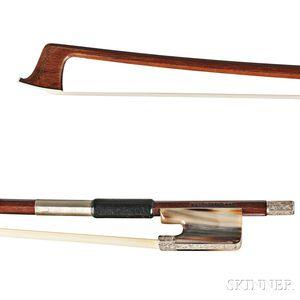 German Engraved Silver-mounted Viola Bow