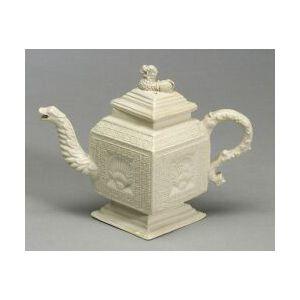 Staffordshire White Saltglaze Stoneware Diamond-Shaped Teapot and Cover