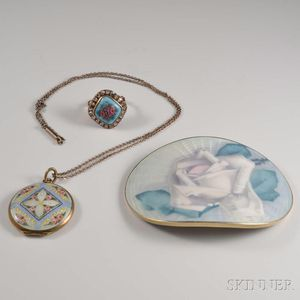 Three Pieces of Enameled Jewelry