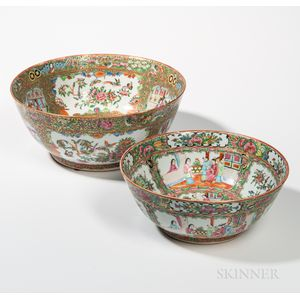 Two Rose Medallion Export Porcelain Punch Bowls