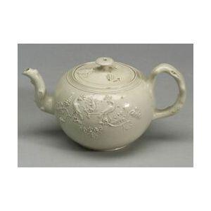 Staffordshire White Saltglaze Stoneware Globular Teapot and Cover