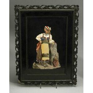 Italian Pietra Dura Plaque of a Peasant Woman