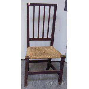 Brown-painted Chippendale Side Chair with Woven Rush Seat and Fluted Legs.