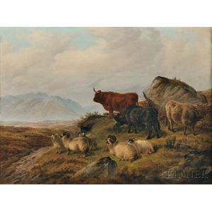 Charles Jones (British, 1836-1892)      Highland Cattle and Sheep in a Landscape