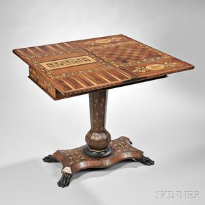 Victorian Irish Marquetry Inlaid Games Table