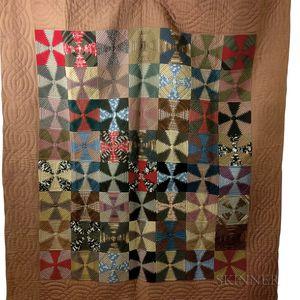"""Appliqued Cotton """"Windmill Blades"""" Quilt.     Estimate $200-250"""