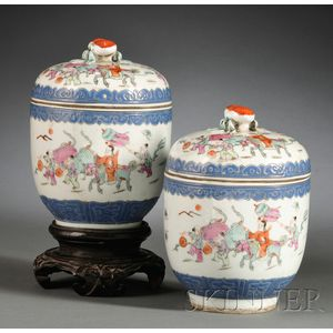 Pair of Wucai Covered Jars