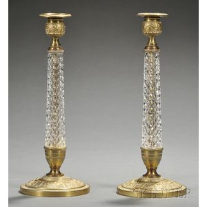 Pair of Second Empire Bronze and Glass Candlesticks