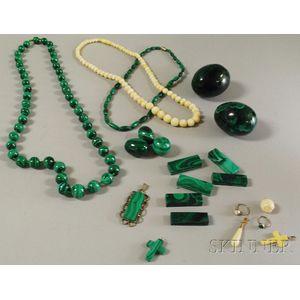 Group of Ivory and Malachite Jewelry