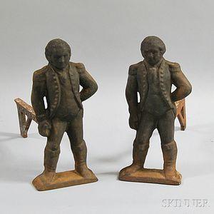 Pair of Cast Iron George Washington Andirons