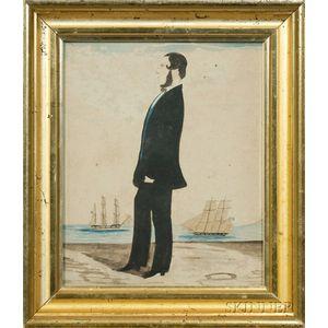 Anglo-American School, 19th Century      Portrait of a Sea Captain.