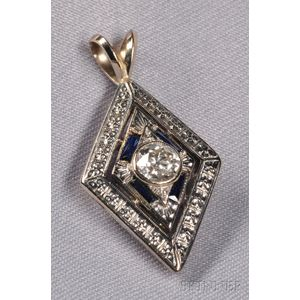 18kt Bicolor Gold, Diamond, and Sapphire Pendant