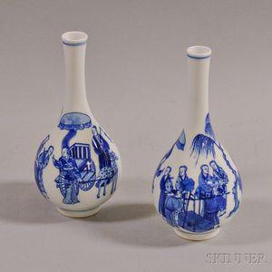 Pair of Blue and White Transferware Vases