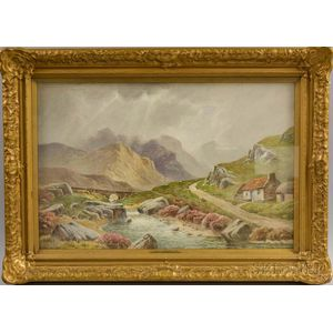 Charles E. Hannaford (British, 1863-1955)      Two Scottish Mountain and Stream Views