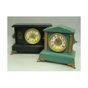 Two Ingraham Late Victorian Gilt-metal Mounted Painted Wood Mantel Clocks.