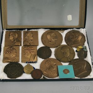 Fifteen Bronze Commemorative Medallions