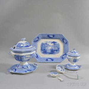 "Six J. Clementson Blue ""Siam"" Transfer-decorated Ironstone Items"
