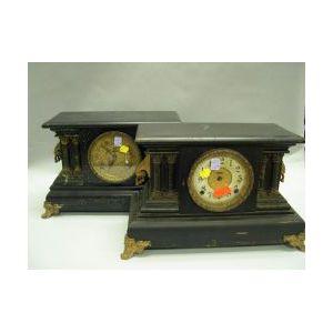 Two Ingraham Gilt-metal Mounted Faux Marble Mantel Clocks.