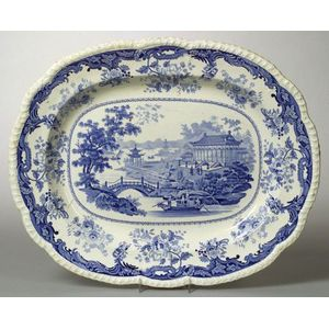 Large English Blue and White Chinese Marine Pattern Transfer Decorated Staffordshire Platter.
