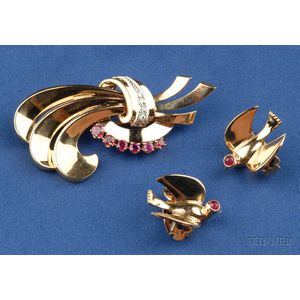 Retro 14kt Gold and Gem-set Brooch and Earclips