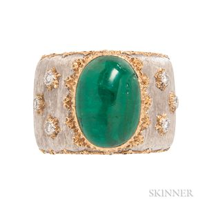18kt Gold, Emerald, and Diamond Ring, Buccellati