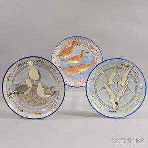 Three Contemporary Faience Pottery Chargers with Birds