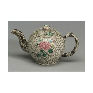 Staffordshire White Saltglaze Stoneware Enamel Decorated Teapot and Cover
