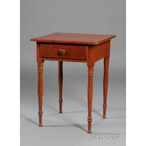 Red-painted One Drawer Pine and Poplar Stand