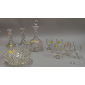 Eleven Pieces of Colorless Cut and Pressed Glass Tableware