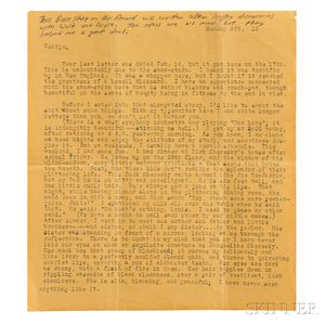 Kerouac, Jack (1922-1969) Typed Letter, with Manuscript Additions, [18 February 1940.]