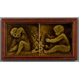 Framed U.S. Encaustic Tile Works Putti Art Pottery Tile