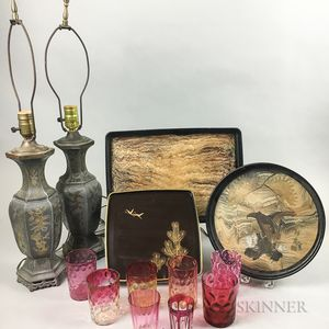 Three Lacquered Trays, a Pair of Pewter Table Lamps, and Eight Glass Tumblers.     Estimate $200-300