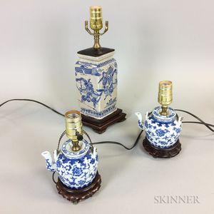 Three Small Chinese Blue and White Porcelain Vessels