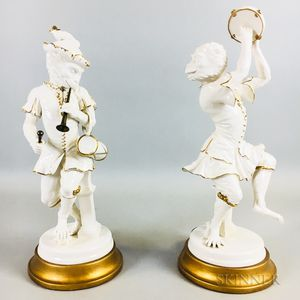 Pair of Continental Porcelain Monkey Musicians