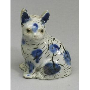 Staffordshire White Saltglaze Stoneware Solid Agate Model of a Cat