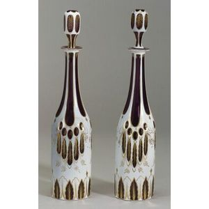 Pair of Bohemian Colorless and White Cased Cut to Amethyst and Parcel-gilt Glass Dec