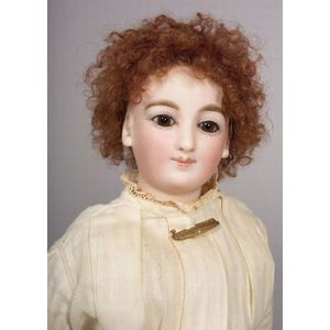 French Bisque Swivel-Neck Smiling Lady Doll by Barrois