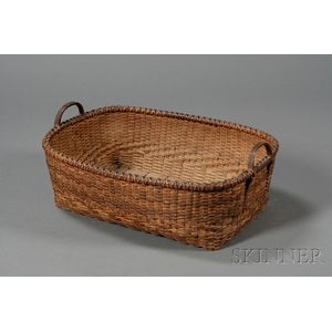 Woven Splint Oblong Basket with Twilled Medial Band