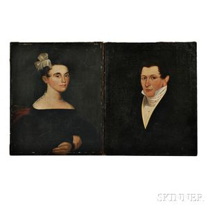 William Matthew Prior (Massachusetts/Maine, 1806-1873), Pair of Portraits of a Husband and Wife, Possibly Hiram and Eunice Hall of Port